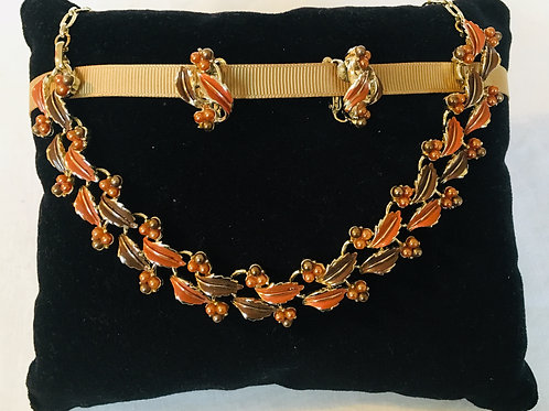 Stunning 1950s  Autumn Leaves Enamelled Necklace and Matching Earrings