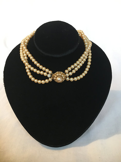 Vintage Triple Row of Faux Pearls with Ornate Clasp