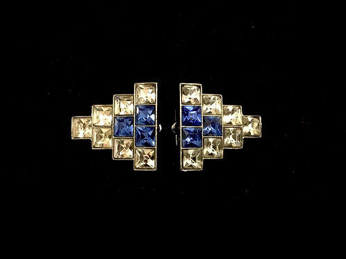 Chic Art Deco Clear and Blue Diamante Dress Clips