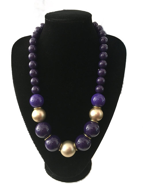 Bright Bold Purple Bead Necklace