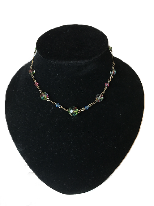 Pretty Multi-Coloured Bead Chain Necklace