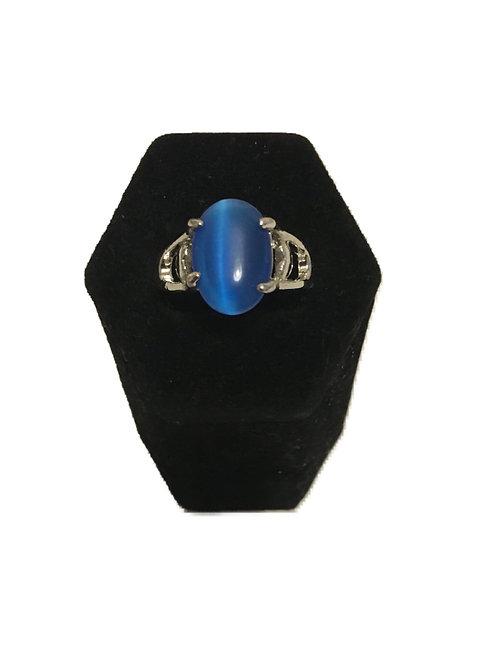 Striking Blue Stone Silver Metal Ring