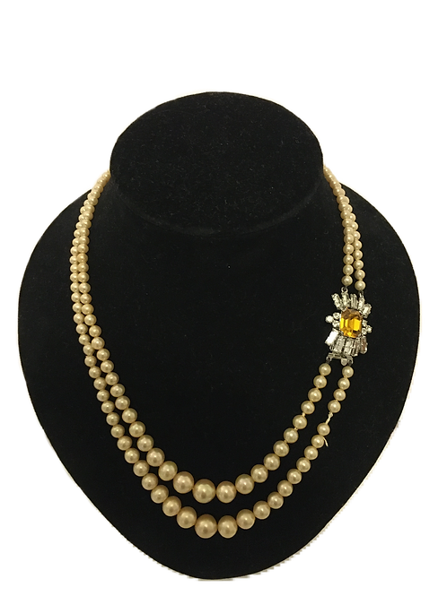 Double Row of Faux Pearls with Diamante and Amber Coloured Side Clasp