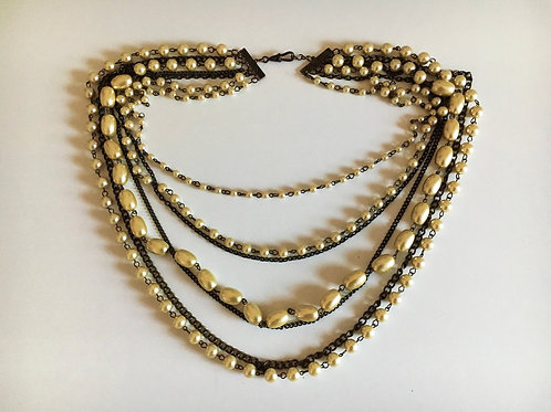 Deeply Dramatic Seven Row Faux Pearl and Metal Bib Necklace