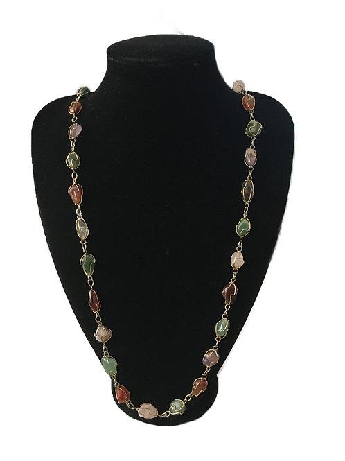 Beautiful Semi-Precious Stone and Gilt Necklace