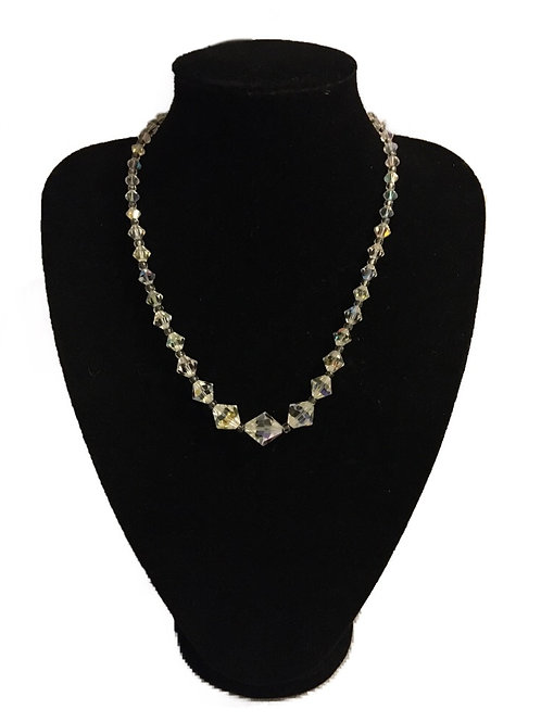 Beautiful Iridescent Faceted Clear Bead Necklace with AB Cluster Clasp