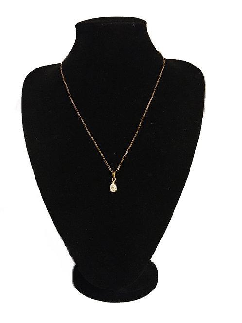 Simple Goldtone and Diamanté Tear Drop Pendant on Chain