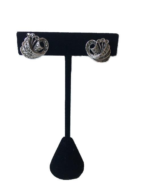 Elegant Marcasite Clip-On Scroll Earrings