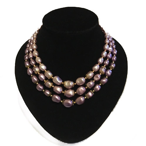 Gorgeous Purple Graduated Pearlescent Bead Three Row Necklace