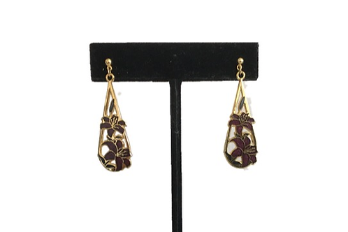 Gilt and Enamelled Floral Drop Earrings by Crown & Fish
