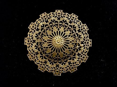 Round Filigree Metal Medieval Style Brooch
