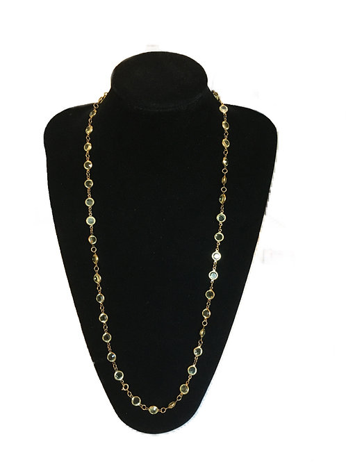 Delicate Gilt Linked Pale Green Glass Bead Necklace