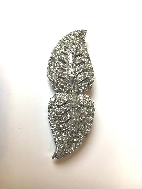 Stunning Diamanté Double Leaf Dress Clip