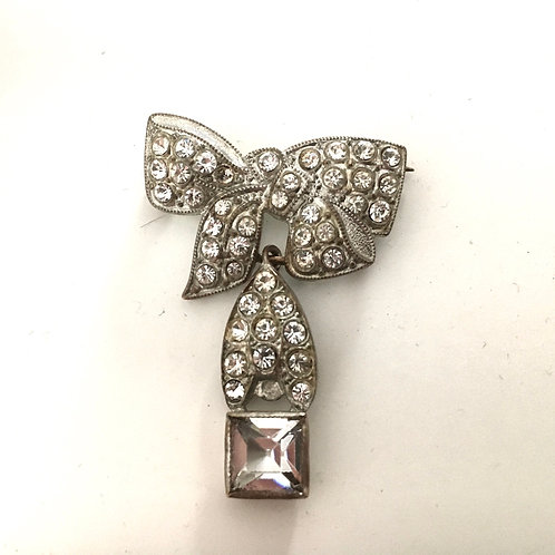 Early Art Deco German Paste Bow Brooch with Articulated Drop