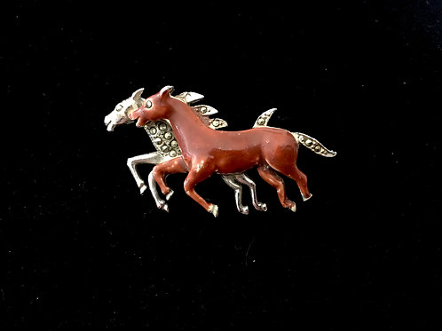 Painted and Marcasite Equestrian Brooch