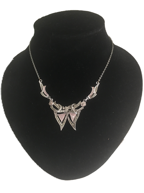 Bloxidge Brothers 1930s Marcasite Bow Pendant Necklace