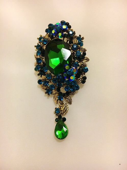 Statement Green and Blue Cluster Pendant Brooch