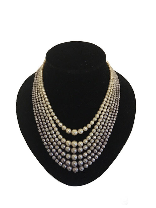 Opulent Six Row 1950s Cream and Lilac Faux Pearl Necklace