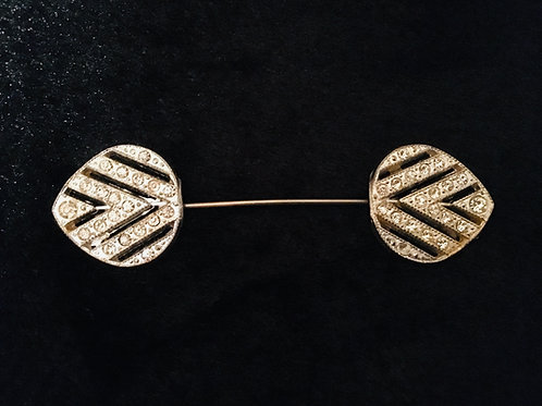 Wonderful Genuine Art Deco Double Leaf Stick Pin