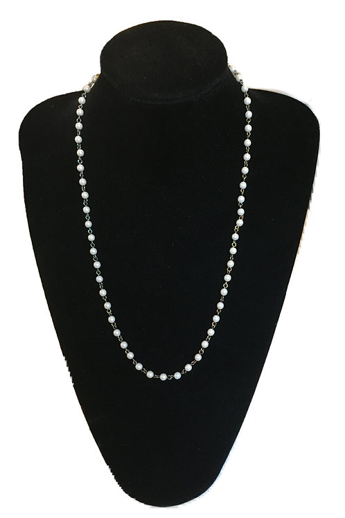 Delicate Chain Link Faux Pearl Necklace