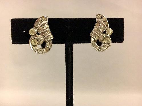 Sterling Silver Art Deco Diamanté Clip Earrings