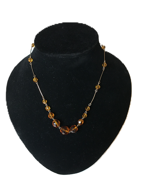 Simple Amber Bead and Brass Link Necklace