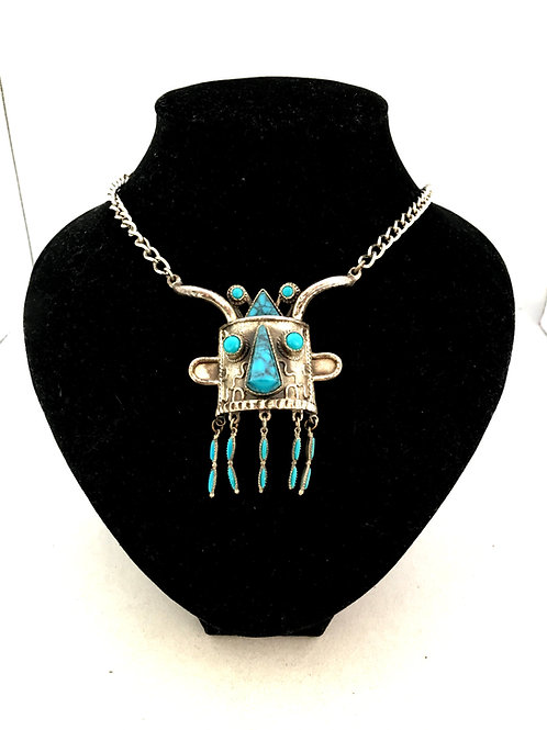 Fun and Striking Tribal Mask Necklace with Turquoise Stones