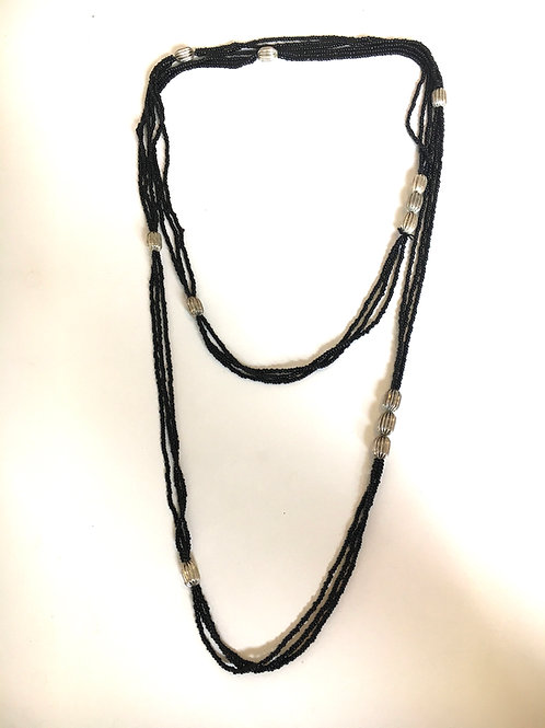 Dramatic Long Multistrand Bead Flapper Necklace with Metal Accents