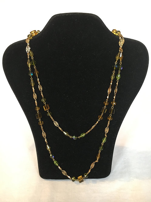 Long Gilt and Faux Topaz Bead Necklace