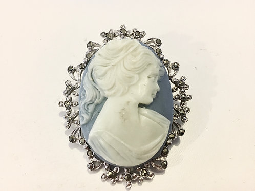 Marcasite Edged Resin Blue Cameo Brooch