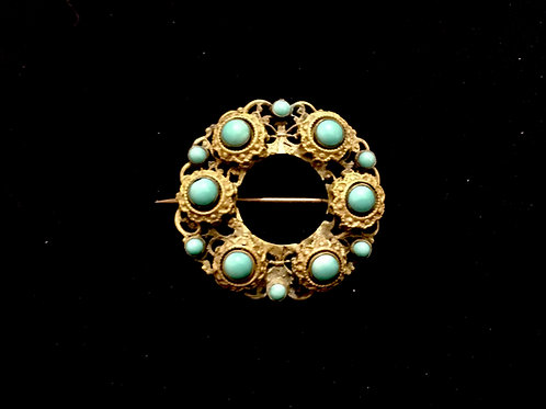 Victorian Filigree Gilt Metal and Turquoise Brooch