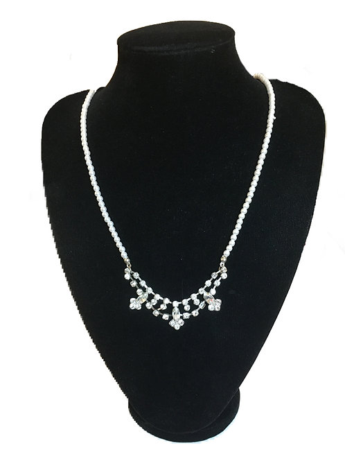 Modern Faux Pearl and Diamante Necklace