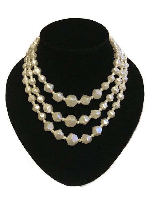 Three Row Angular Pearlescent Bead Necklace