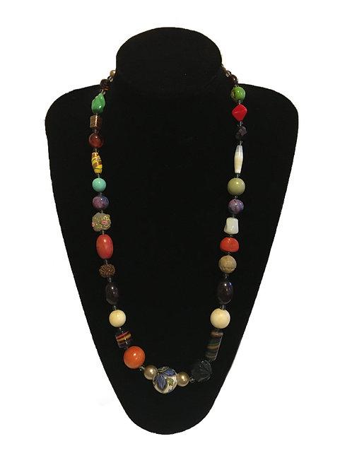 Unusual Multi-Stone Multicoloured Bead Necklace