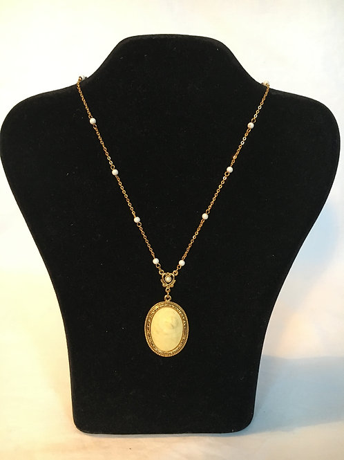 "Sumptuous Faux Ivory Pendant Necklace and Gilt Chain by ""1928"""