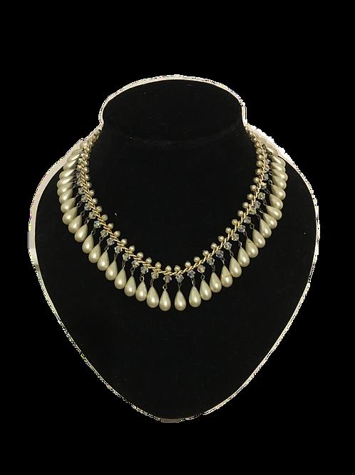 Glorious Faux Pearl Drop Fringe Necklace