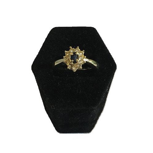 Pretty Gilt Diamanté Flower Cluster Ring with Blue Stone Centre