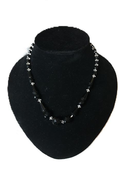 Super Stylish Deco Style Black and Clear Bead Necklace