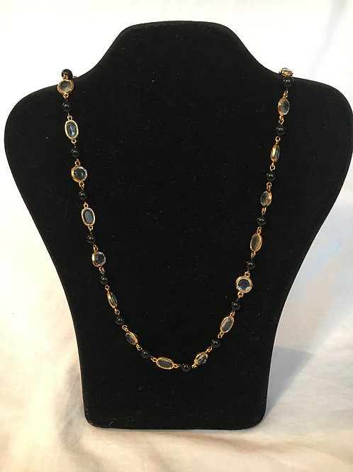Trifari Gilt, Clear and Black Bead Necklace