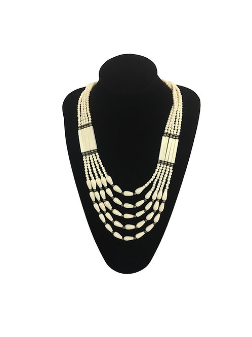 Bold White South American Style Multi Row Necklace