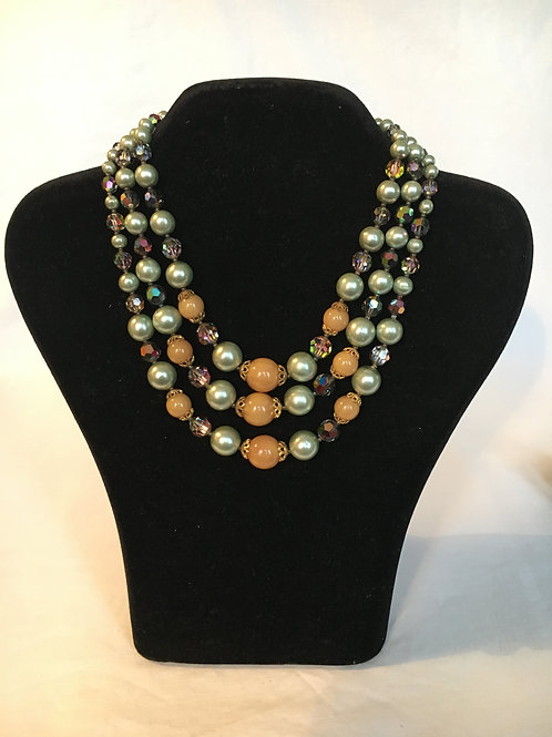 Stunning 1950s Pale Green Faux Pearl and Bead Three Strand Collar