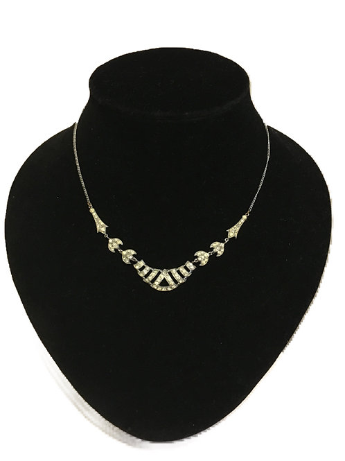 Beautiful Art Deco Silver Metal and Diamanté Articulated Necklace