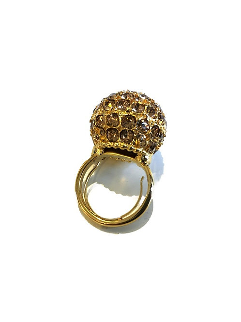 Stunning Kenneth Jay Lane Gold Glitter Ball Ring