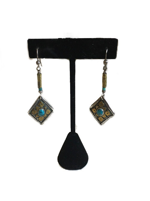 Ethnic Style Drop Earrings with Turquoise Accents