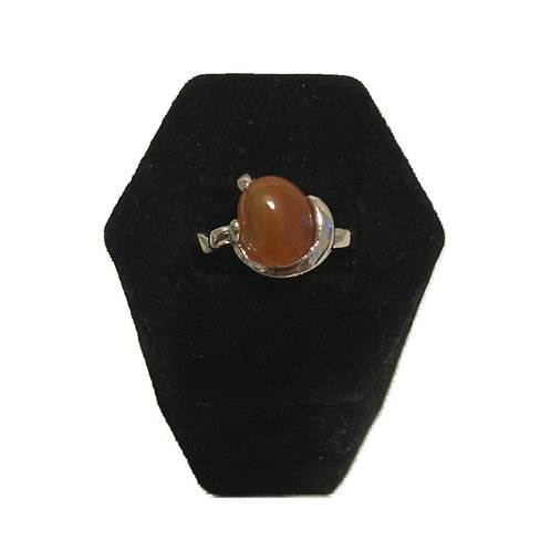 Silver Metal and Amber Coloured Costume Ring
