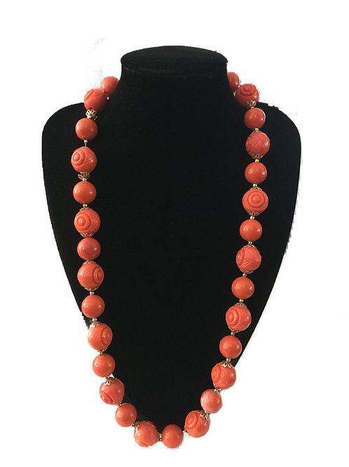 Vibrant Carved Orange Chunky Bead Necklace