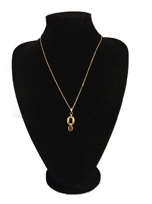 Modern Gilt Metal Articulated Pendant with Red Stone on Chain