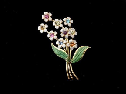 Austrian Enamelled Cluster of Spring Flowers Brooch