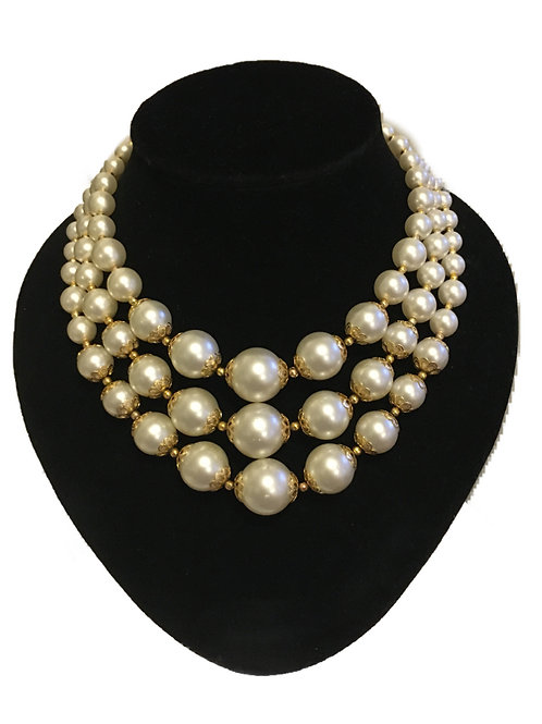Glamorous Large Three Row Faux Pearl & Gilt Necklace
