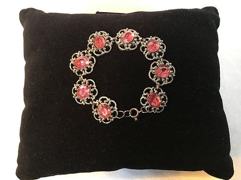 Pretty Modern Flower Bracelet with Bright Pink Stones